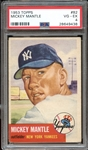 1953 Topps #82 Mickey Mantle PSA 4 VG/EX