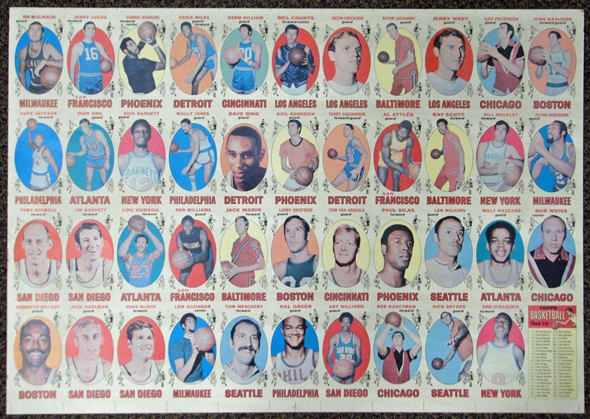1969-70 Topps Basketball Uncut Proof (Blank Back) Sheet with (44) Cards Featuring Rookie Cards of Lew Alcindor and Havlicek, Bradley, Bing, Hawkins and Lucas