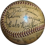1939 Inaugural Hall of Fame Induction Ceremony Signed OAL (Harridge) Ball Featuring (16) HOFers Including Ruth, Alexander, Wagner, Young, Johnson, Etc.