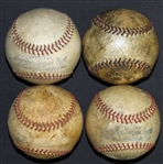 1930s-40s Game-Used OAL (Harridge) Ball Group of (4)