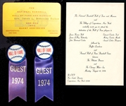 Hall of Fame Invitation, Guest Admission Pass and Ribbons Group of (4) Given to Mrs. Jim Bottomley