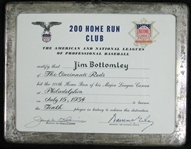 200 Home Run Club Award Presented to Jim Bottomley Signed by Cronin and Giles