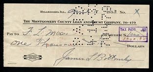 Jim Bottomley Signed and Cancelled Bank Check