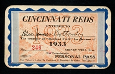 1933 Cincinnati Reds Season Pass Extended to Mrs. James Bottomley Signed by Jim Bottomley