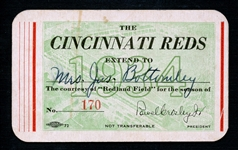 1934 Cincinnati Reds Season Pass Extended to Mrs. James Bottomley Signed by Jim Bottomley