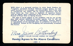 1957 St. Louis Cardinals Season Pass Extended to and Signed by Mrs. Jim Bottomley