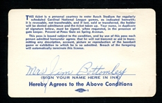 1958 St. Louis Cardinals Season Pass Extended to and Signed by Mrs. Jim Bottomley