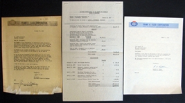 1959 Fleer Company Letter with Facsimile Signature of Jim Bottomley with Probate Settlement Showing Gum Company Receipt