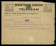 1922 Telegram to Jim Bottomley from St. Louis Pennant Rooters Club Honorary Chairman Henry Kiel