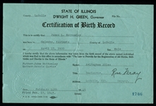 Jim Bottomleys Birth Certificate with Certified Copy of Wife Bettys Birth Certificate