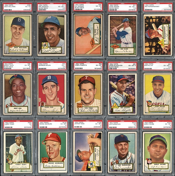 1952 Topps Near Complete Set (406/407) with Many PSA Graded