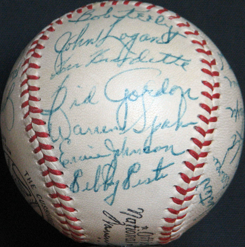 1952 Boston Braves Team Signed ONL Giles Ball With 25 Signatures