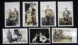 Group of (7) Scrapbook Photos From the Jim Bottomley Collection Featuring Bottomley in a Hunting Theme