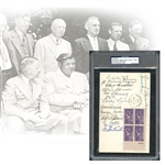 1939 Inaugural Hall of Fame Induction Class Cooperstown Signed First Day Cover Featuring Wagner, Ruth, Cobb, Young, Speaker, Johnson Etc. PSA/DNA 9 MINT - The Finest Example Known to Exist