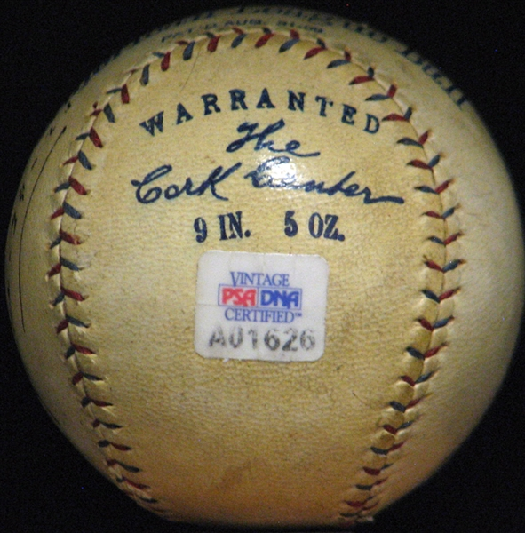 Ty Cobb Single-Signed OAL (Johnson) Ball Dated In His Hand PSA/DNA
