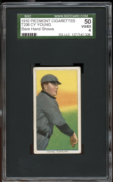 1909-11 T206 Piedmont 350/25 Cy Young Bare Hand Shows SGC 50 VG/EX 4