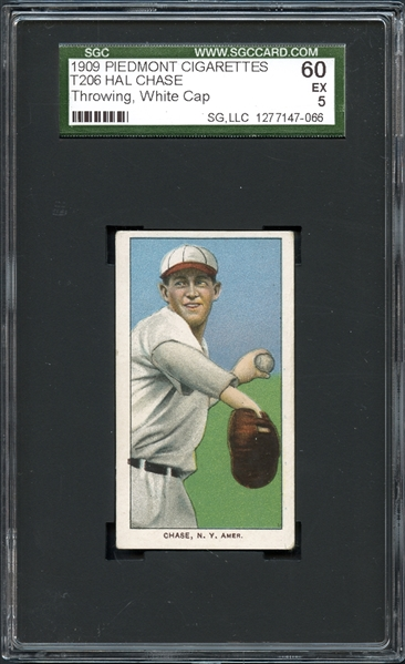 1909-11 T206 Piedmont 150/25 Hal Chase, Throwing, White Cap SGC 60 EX 5