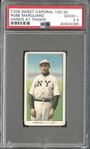 1909-11 T206 Sweet Caporal 150/30 Rube Marquard, Hands at Thighs PSA 2.5 GOOD+