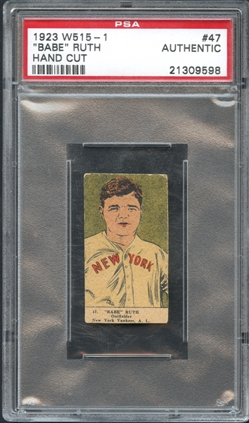 1923 W515-1 #47 Babe Ruth Hand Cut PSA Authentic