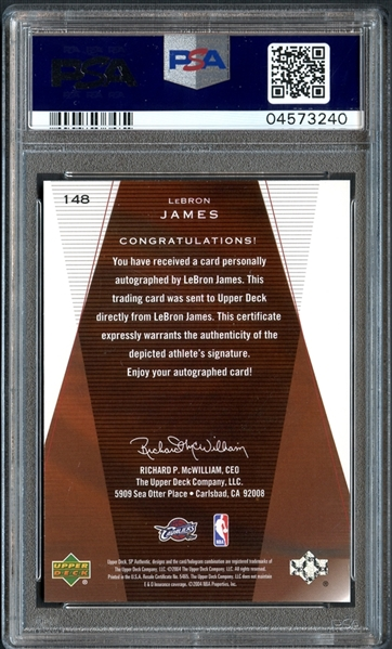2003 SP Authentic #148 LeBron James Autographed PSA 10 GEM MINT