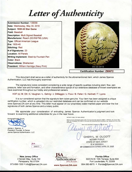 1939 All Star Game Multi-Signed OAL (Harridge) Ball with (23) Signatures Featuring Gehrig, DiMaggio, Foxx, Ott Etc.