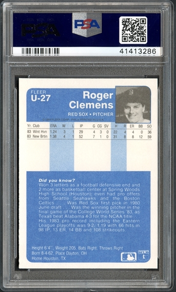 Lot Detail 1984 Fleer Update U27 Roger Clemens Psa 10 Gem