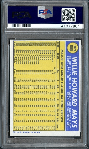 1970 Topps #600 Willie Mays PSA 10 GEM MINT