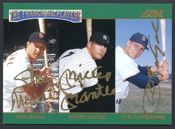 1992 Score Franchise Mickey Mantle/Stan Musial/Carl Yastrzemski Signed Card