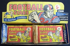1961 Nu-Card Football Partial Unopened Box of (12) Packs Plus Display Box