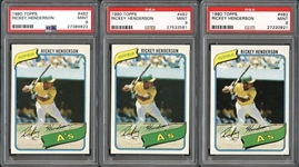 1980 Topps #482 Rickey Henderson Group of (3) Cards All PSA MINT 9
