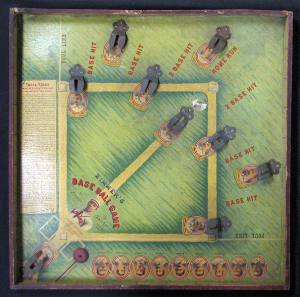 1893 Zimmer's Base Ball Game Featuring 11 Hall Of Famers with Original Lid- Newly Discovered