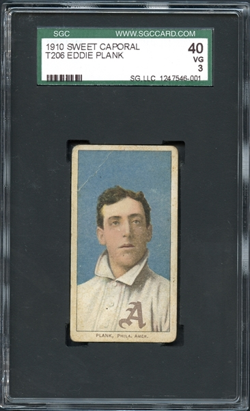 1909-11 Sweet Caporal 350 Subjects T206 Eddie Plank SGC 40 VG 3