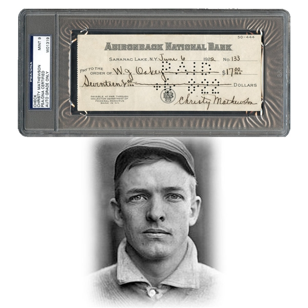 1922 Christy Mathewson Signed Check PSA/DNA 9 with Letter From Mrs. Mathewson to Collector