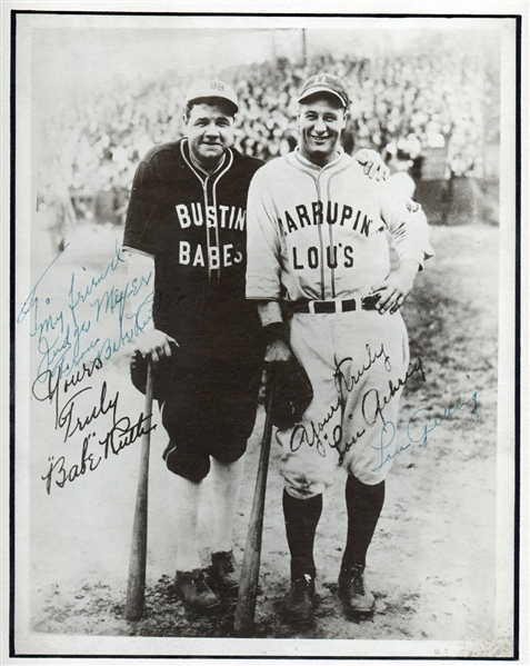 Babe Ruth and Lou Gehrig Signed Barnstorming Photograph PSA/DNA MINT 9