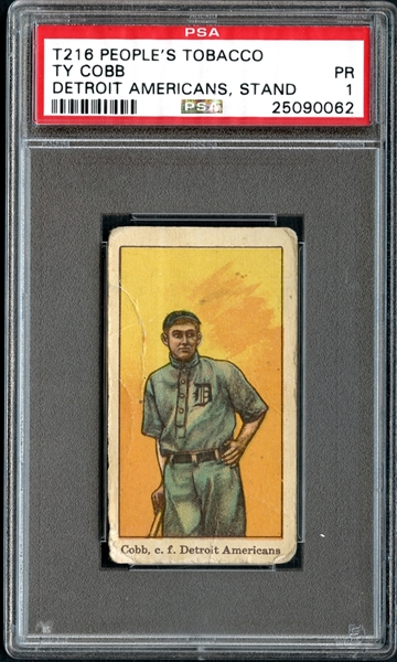 1911-1916 T216 People's Tobacco Ty Cobb Detroit Americans PSA 1 PR