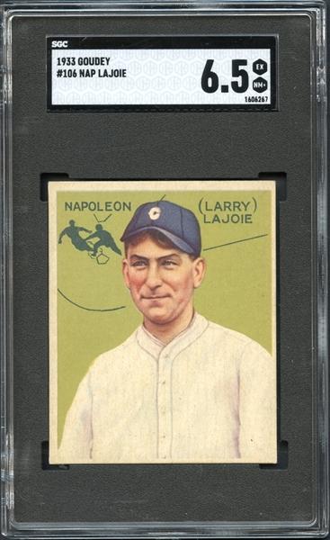 1933 Goudey #106 Nap Lajoie SGC 6.5 EX/NM+