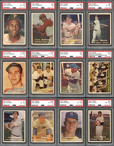 1957 Topps Baseball Complete Set with PSA Graded Stars
