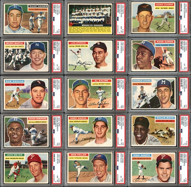 1956 Topps Baseball Complete Set with PSA Graded Stars