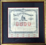 1887 City of Vincennes, Indiana $500 City Hall Bond