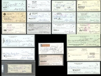 Collection of (20) NFL Hall of Fame Signed Checks Featuring Unitas, Nagurski, Ditka, Ewbank, Stram, Bell, Etc.