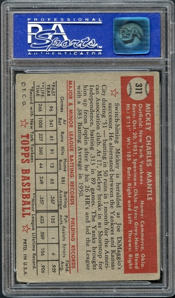 1952 Topps #311 Mickey Mantle PSA 4 VG/EX