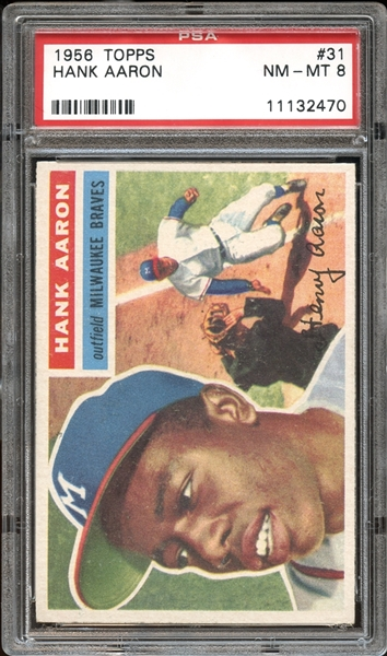 hank aaron, vintage sports cards