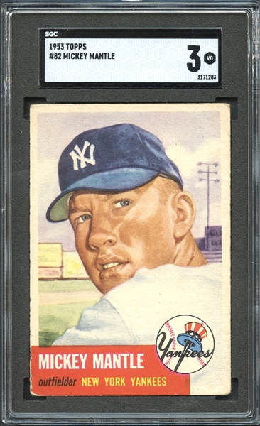 mickey mantle, sgc graded, baseball