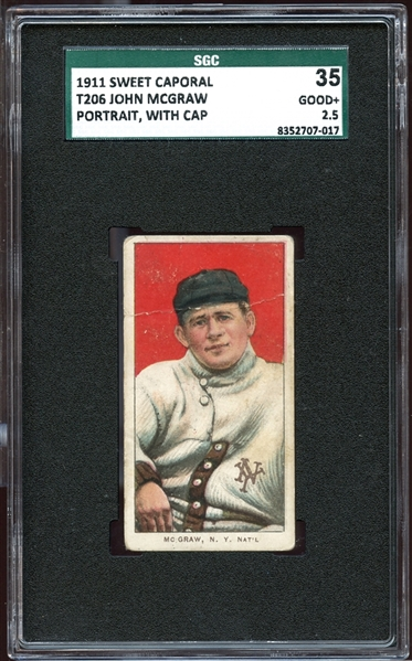 1909-11 T206 Sweet Caporal 350-460/30 John McGraw Portrait With Cap SGC 35 GOOD+ 2.5