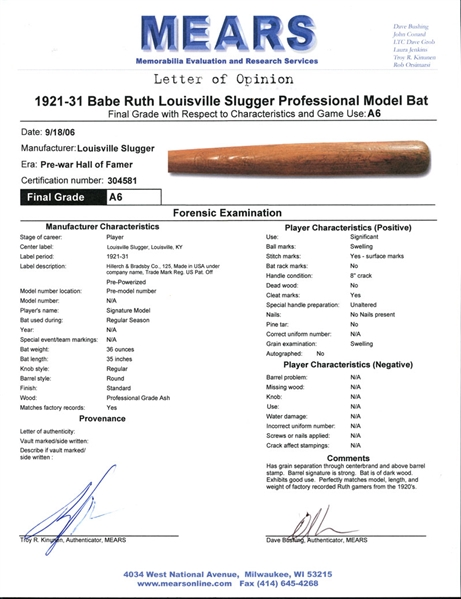 1921-31 Babe Ruth Louisville Slugger Professional Model Game-Used Bat MEARS A6