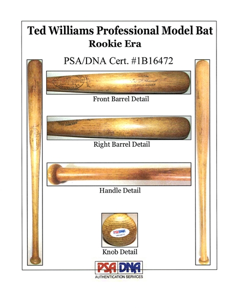 1939-40 Ted Williams Rookie-Era Game-Used Louisville Slugger Bat PSA/DNA GU 9