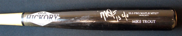 2013 Mike Trout Signed Game-Used Old Hickory Bat PSA/DNA GU 10