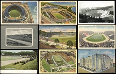 1890s-1950s Postcard Collection of (16) Featuring Baseball and Football Stadium Postcards