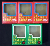 1970 Topps Baseball and Football Empty Cello Pack Box Group of (5)
