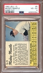 1962 Jell-O #5 Mickey Mantle Hand Cut PSA 4 VG/EX